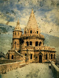 Old photo with Fisherman's bastion at Buda Castle in Budapest, H Royalty Free Stock Image