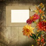 Old photo frame with beautiful flowers and ribbon on vintage wooden board vector illustration
