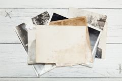 Old photo frame picture card, antique postcard background stock photography