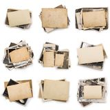 Stack of old photos with clipping path for the inside. Old photo frame. Vintage paper. Retro card royalty free stock image