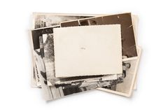 Stack of old photos with clipping path for the inside. Old photo frame. Vintage paper. Retro card royalty free stock photo
