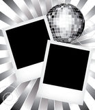 Old photo frames with disco ball Stock Photos