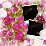 Old photo frames over Green and pink backgound Royalty Free Stock Images