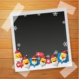 Santa Emoji happy smiley design with Old photo frames. Photo frames isolated on wooden background. 3d emotion concept illustration. Old photo frames.Photo frames stock images
