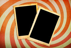 Old photo frames on vintage paper Royalty Free Stock Photos