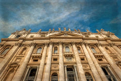 Old photo with front view of St Peter& x27;s Basilica in Vatican city Royalty Free Stock Image