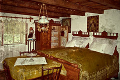 Old photo with german traditional home interior in Banat, Romani Royalty Free Stock Photography