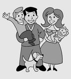 Old Photo Of Happy Family Royalty Free Stock Image