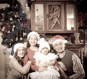 Old photo of happy family Royalty Free Stock Images