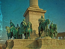 Old photo from Heroes Square Budapest Royalty Free Stock Photography