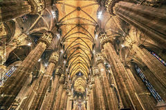 Old photo with interior at the Milan cathedral Royalty Free Stock Photography