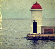 Old photo with lighthouse from Zadar, Croatia. Royalty Free Stock Photo