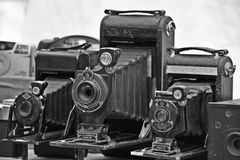 Old photo machines isn Santelmo Buenos Aires. Old photo machines ehibited in a fair in San Temo Buenos Aires Royalty Free Stock Photo