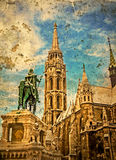 Old photo with Mathias Church in Budapest (Hungary) and  Statue Stock Image