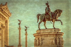 Old photo with the Monument Nazional a Vittorio Emanuele II Royalty Free Stock Photo