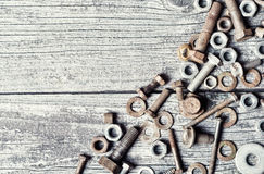 Old photo of nuts and bolts Stock Photos