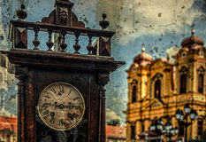 Old photo with old clock Royalty Free Stock Photos