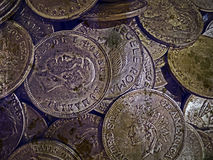 Old photo with old coins 4 Royalty Free Stock Photography