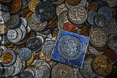 Old photo with old coins Stock Photography