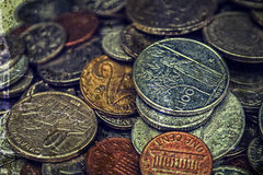 Old photo with old coins Royalty Free Stock Photo