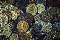 Old photo with old coins Royalty Free Stock Photos