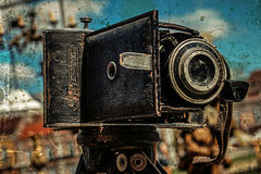 Old photo with old photo camera 5 Stock Photo
