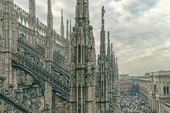 Old photo with one part of famous Milan Cathedral Stock Image
