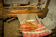 Old photo at one romanian farmhouse interior,with loom detail Royalty Free Stock Image