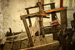Old photo at one romanian farmhouse interior,with loom detail 1 Stock Photo