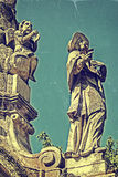 Old photo with Plague Monument 2 Stock Images