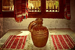 Old photo with Romanian traditional home interior 2 Royalty Free Stock Images