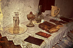 Old photo with Romanian traditional home interior 4 Royalty Free Stock Images