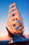 Old photo of romantic sail boat in Black Sea Stock Image