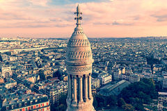 Old photo with rooftop and aerial view from Basilica Sacre Coeur Royalty Free Stock Image