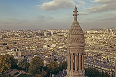 Old photo with rooftop and aerial view from Sacre Coeur Basilica Stock Photography
