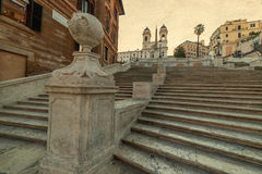Old photo with Spanish Steps from Piazza di Spagna in Rome, Ital Royalty Free Stock Image