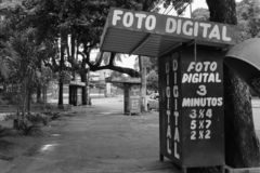 Old photo stand in Goiania city, Brazil royalty free stock photography