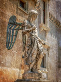 Old photo with statue of Angel inside the castle San Angelo Royalty Free Stock Photo