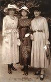 Old photo of the three stylish girls Stock Photo