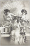 Old photo  of  three young women Royalty Free Stock Photo