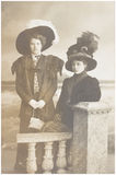 Old photo  of  two women Stock Images