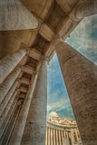 Old photo with view at columns in St. Peter& x27;s Square, Vatican Ci Stock Photography
