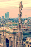 Old photo with view over Milan from Milan Cathedral Royalty Free Stock Photo
