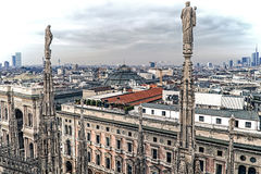 Old photo with view over Milan from Milan Cathedral Stock Photography