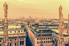Old photo with view over Milan from the top of the Milan Cathedr Stock Images