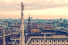 Old photo with view over Milan from the top of the Milan Cathedr Stock Photo