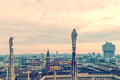 Old photo with view over Milan from the top of the Milan Cathedr Royalty Free Stock Photos
