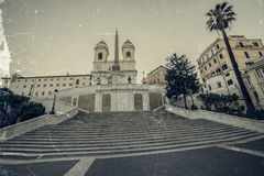 Old photo in vintage style with Spanish Steps from Piazza di Spa Stock Images