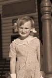 Old photo of young girl sepia Royalty Free Stock Image