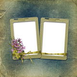 Old photoalbum with grunge frame and bunch Stock Photography